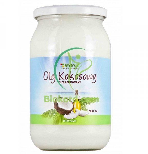 Olej (Masło) Kokosowy Nierafinowany, Tłoczony na Zimno, Myvita