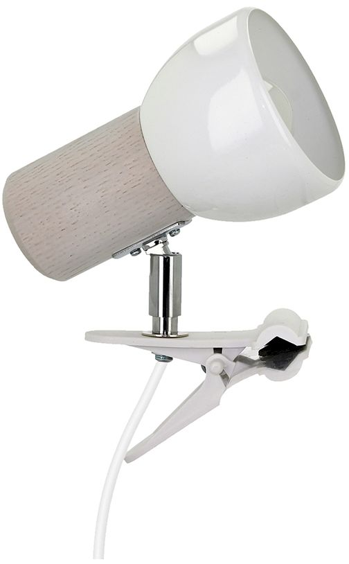 Spot Light 2224132WK Svenda Clips kinkiet lampa ścienna dąb bielony/biały klosz metal biały 1xE27 60W IP20 15cm