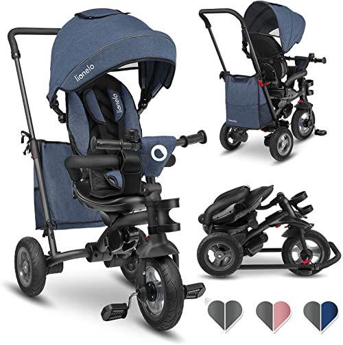 LIONELO Tris rowerek trójkołowy od 18 miesięcy do 25 kg, obrotowe siedzisko, daszek z okienkiem, pasy bezpieczeństwa, dzwonek, bezdętkowe opony, wolne koło, torba