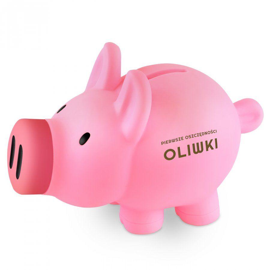 Skarbonka świnka różowa z grawerem dla dziewczynki na roczek imieniny