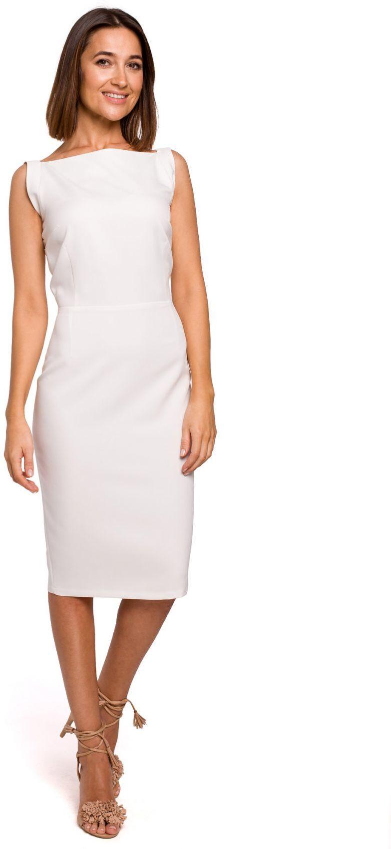 S216 Sukienka ołówkowa bez rękawów - ecru