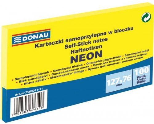 Karteczki samoprzylepne DONAU 127x76mm neonowy żółty (100k) 7588011-11