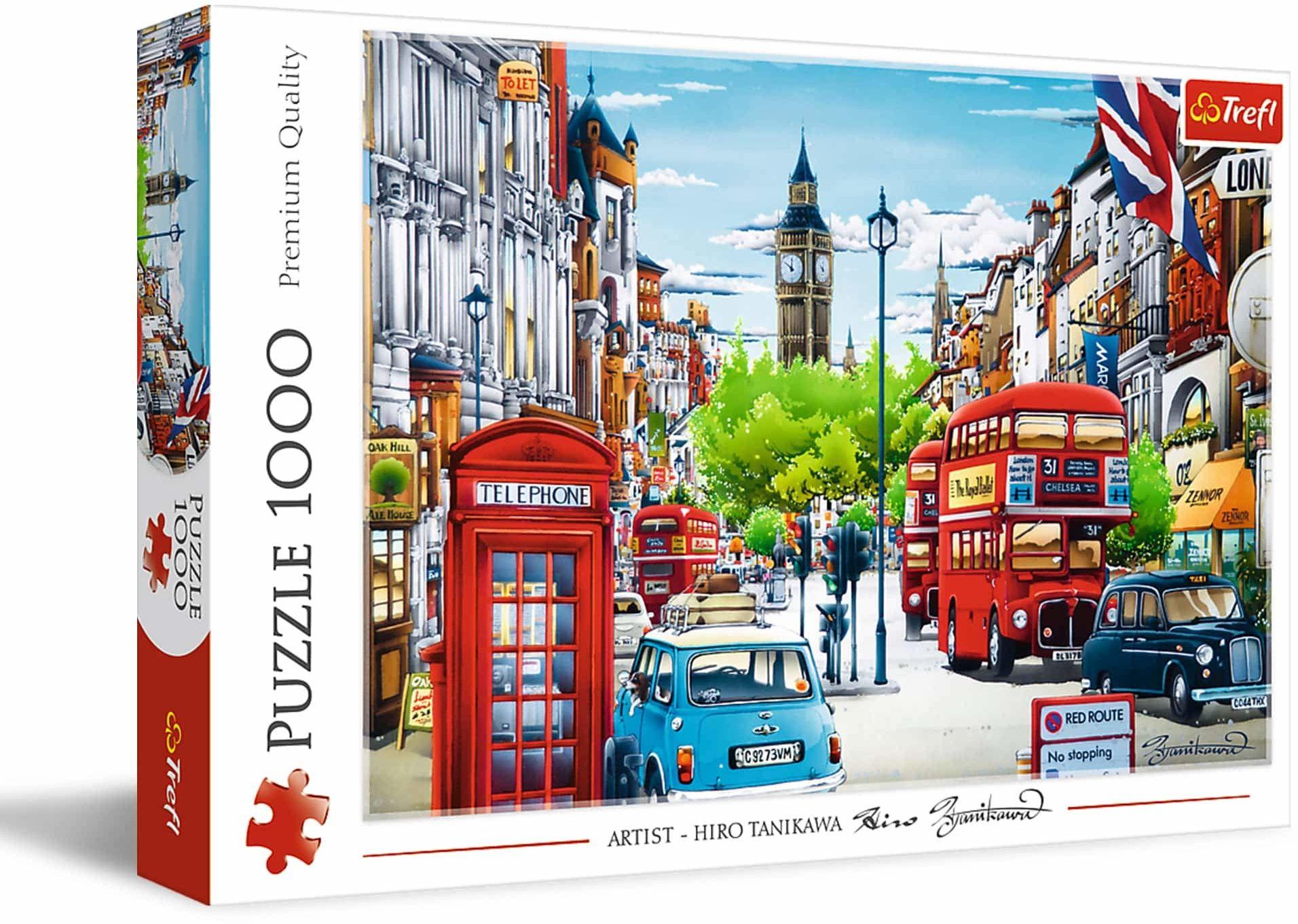 Trefl - Ulica Londynu - 1000 Elementów, Miasto, Widok na Ulicę Londynu, Anglia, Big Ben, Budynek, Układanka DIY, Kreatywna Rozrywka, Prezent, Zabawa, Puzzle Klasyczne dla Dorosłych i Dzieci od 12 Lat
