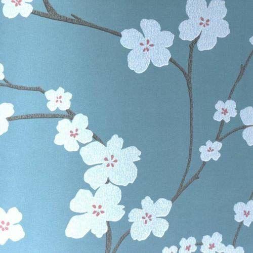 A-Street Prints Sakura kwiatowy tapeta, turkusowy, 50 cm x 80 cm