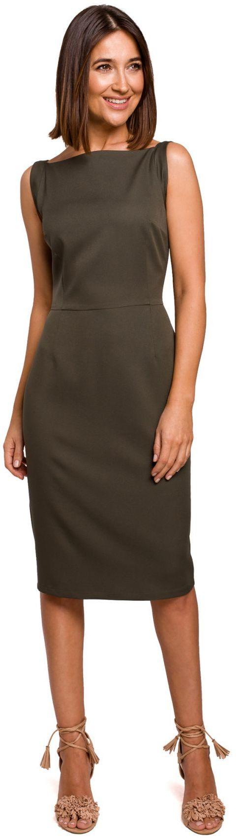 S216 Sukienka ołówkowa bez rękawów - khaki