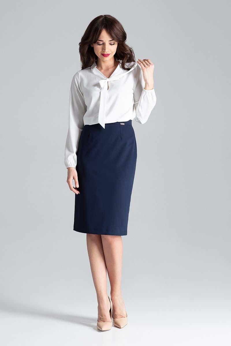 Ecru elegancka bluzka z wiązaniem przy dekolcie