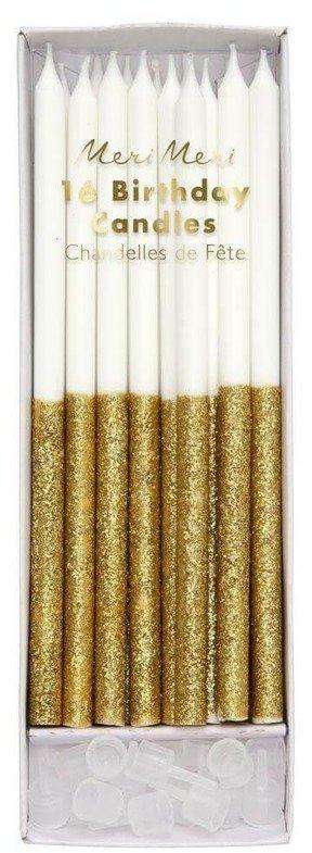 Świeczki brokatowe dipped złote,16 sztuk, meri meri