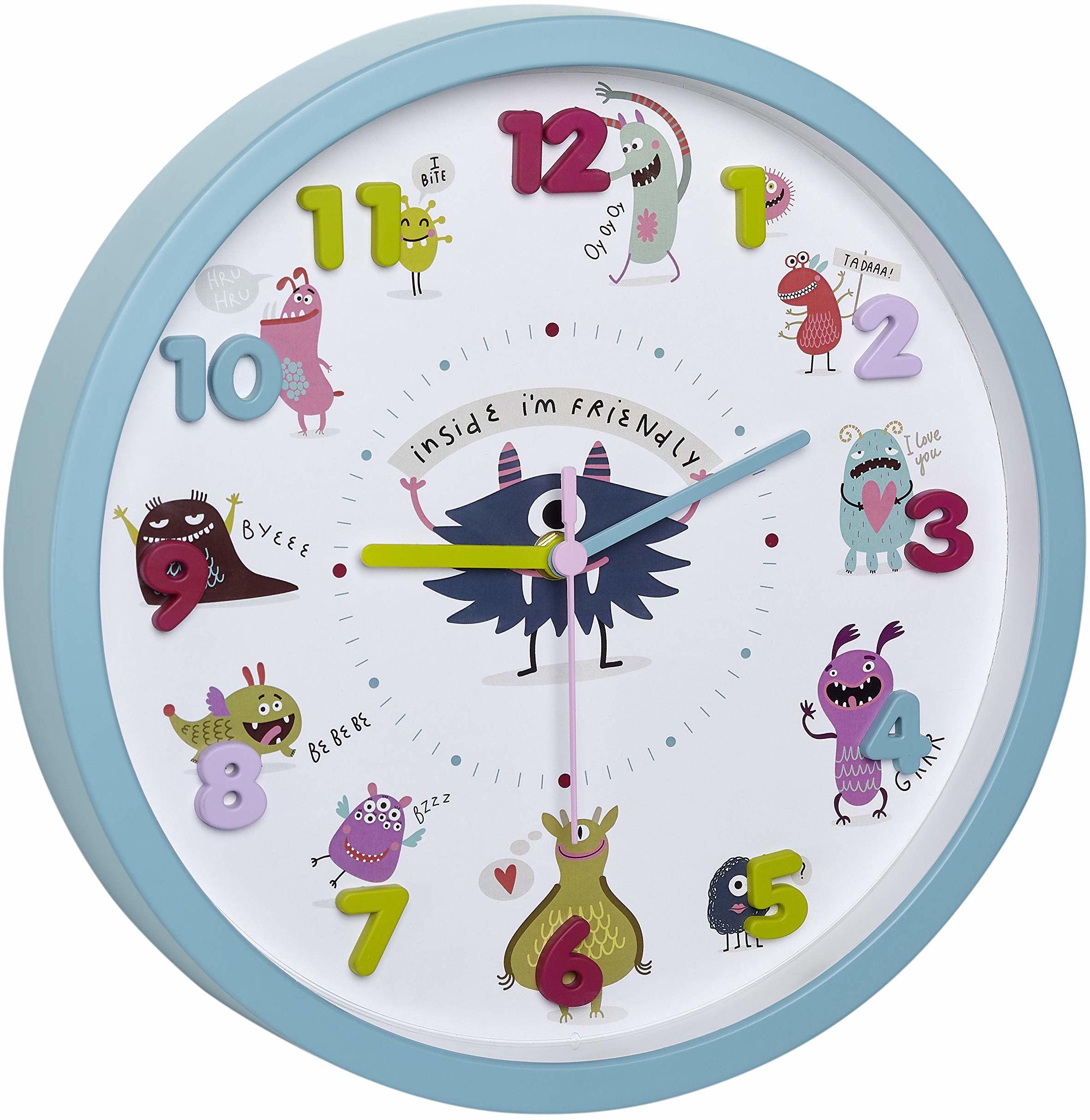 TFA Dostmann LITTLE MONSTERS dziecięcy zegar ścienny z motywami potworków, cichy mechanizm zegarowy, idealny do pokoju dziecięcego, tworzywo sztuczne, szkło, turkusowy