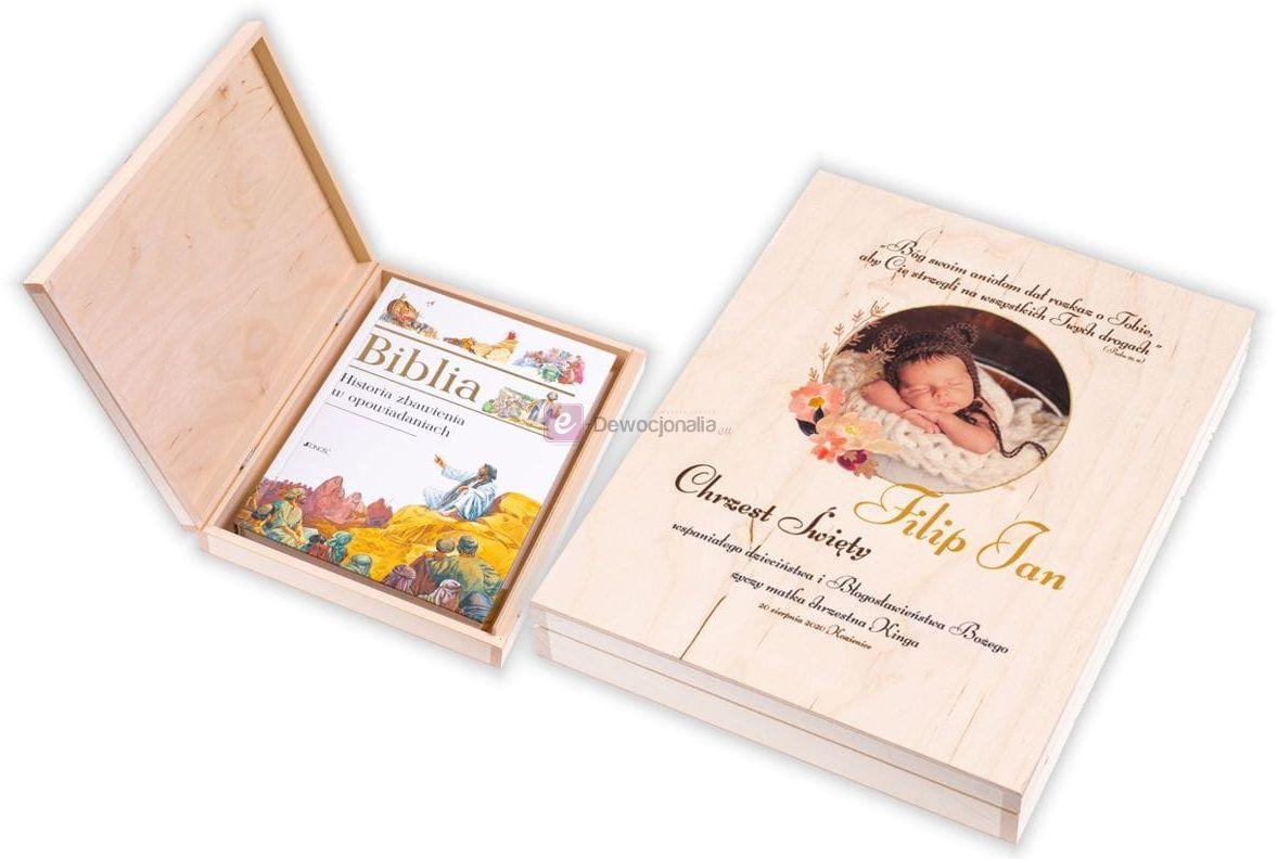 Biblia [do wyboru] w pudełku EKO  z nadrukiem zdjęcie UV - Pamiątka Chrztu Świętego
