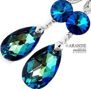 NOWE! Kryształy przepiękne kolczyki BERMUDA BLUE