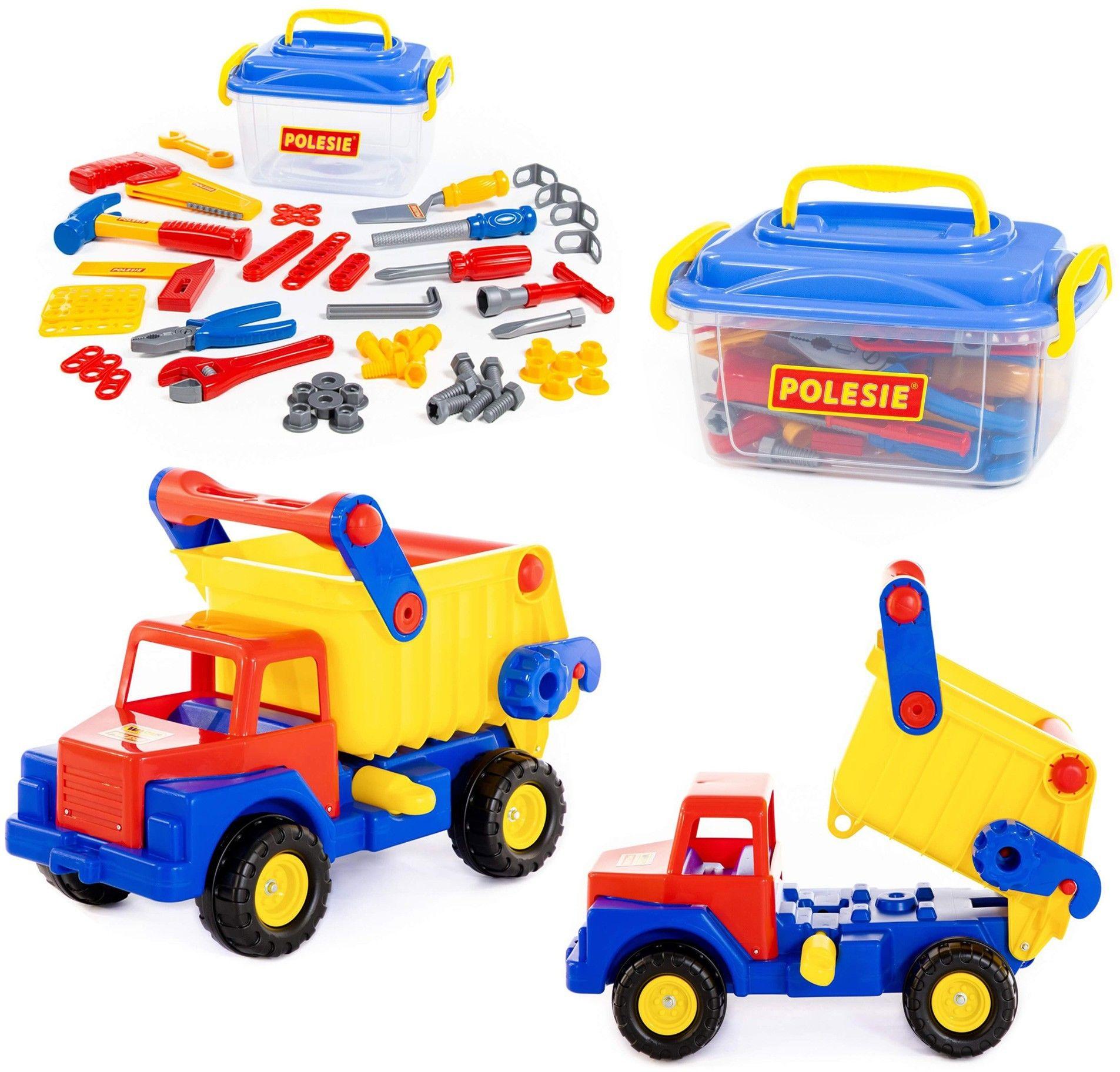 Zestaw ogromna ciężarówka + narzędzia 57 elementów Wader QT Polesie