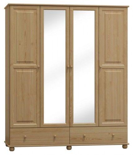 Szafa drewniana sosnowa czterodrzwiowa z lustrem 160cm (nr kat 74)