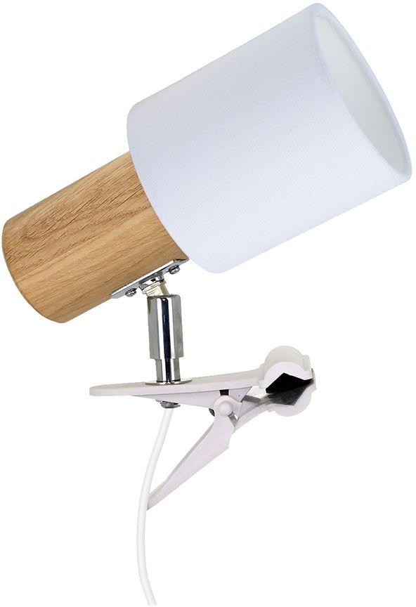 Spot Light 2236174WK Treehouse Clips kinkiet lampa ścienna dąb olejowany/biały abażur tkanina biały 1xE27 25W IP20 18cm