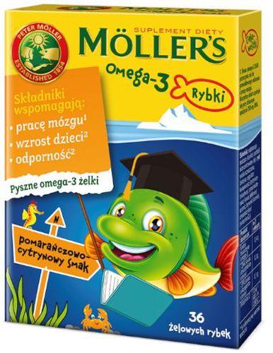 Tran Mollers Omega-3 Rybki, żelki pomarańczowo-cytrynowe 36 sztuk