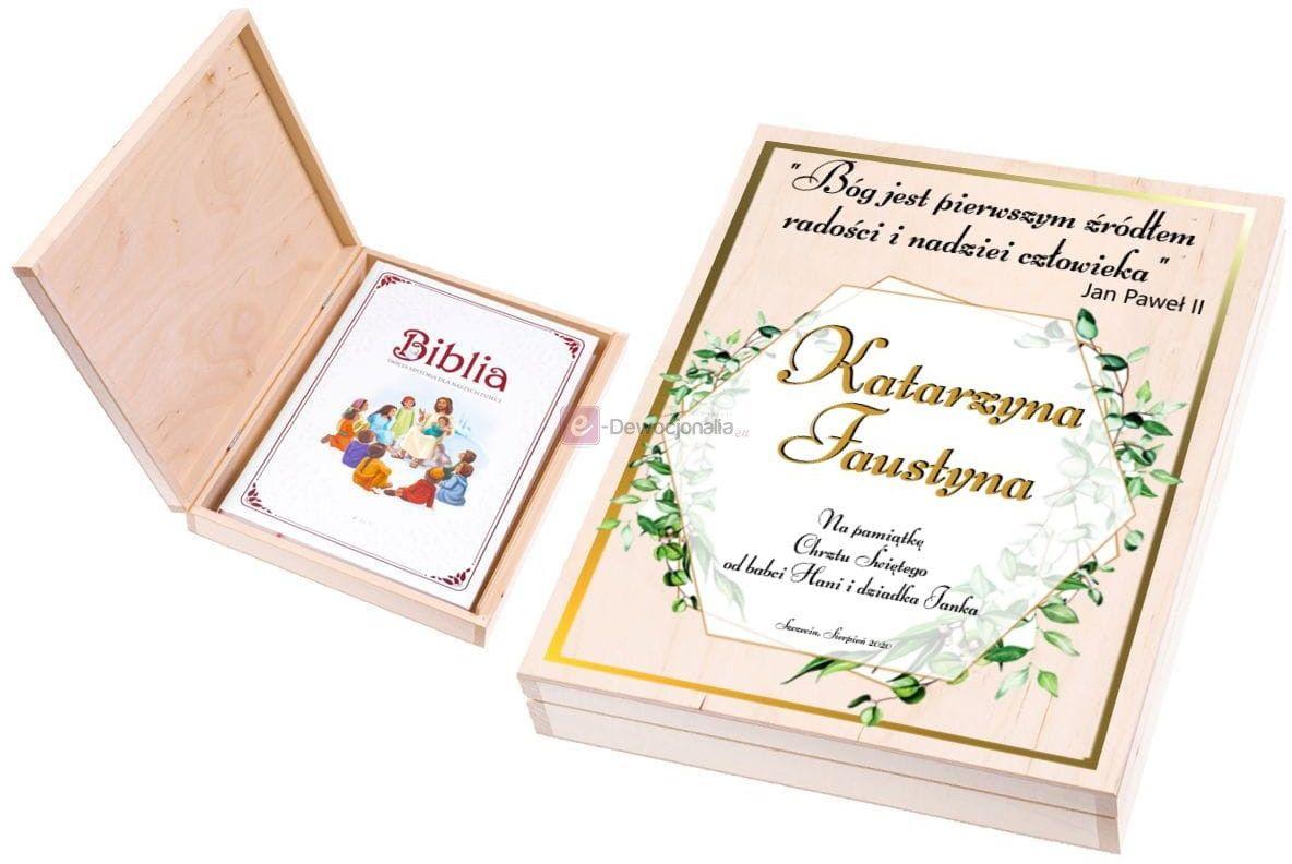 Biblia [do wyboru] w pudełku XL EKO  z nadrukiem UV - Pamiątka Chrztu Świętego