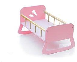 Moover MOOV-7422U duże drewniane łóżko dla lalek - kołyska dla lalek, różowa