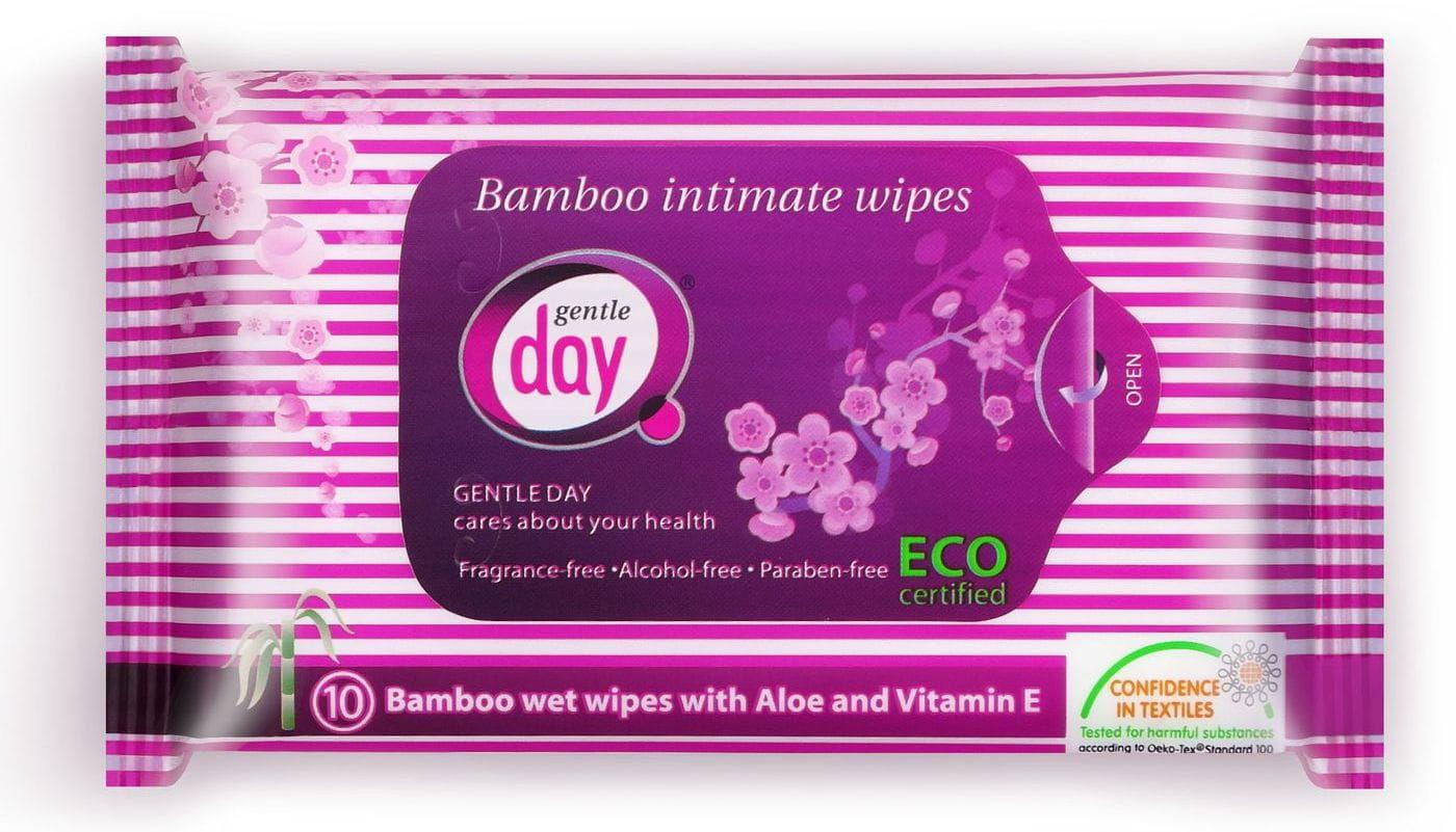 Chusteczki do higieny intymnej z włókna bambusowego nawilżane 10 szt. - gentle day