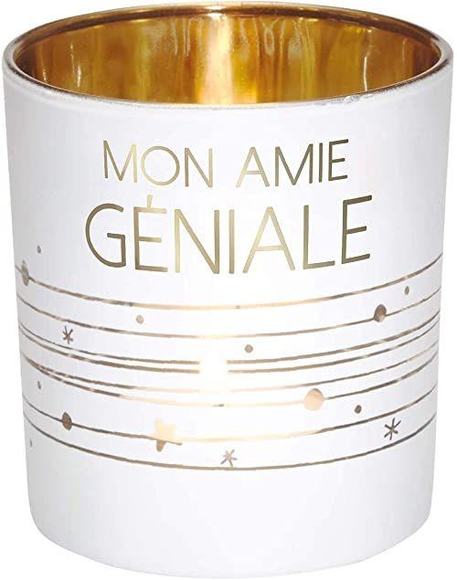 DRAEGER Paris - świecznik na podgrzewacze Mon Amie Géniale ze szkła w kolorze białym i złotym, wys. 8 x dł. 7,5 cm