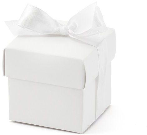 Pudełeczka dla gości z kokardką białe 10 sztuk PUDP6