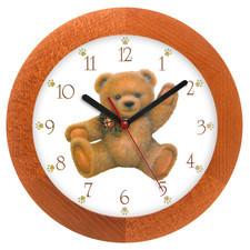 Zegar drewniany solid siedzący miś