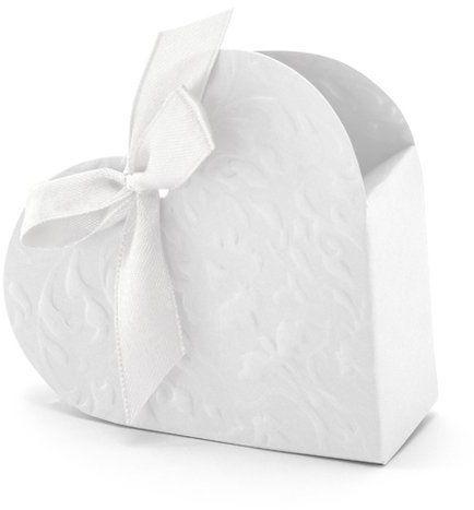 Pudełeczka dla gości białe serduszka z kokardką 10 sztuk PUDP10