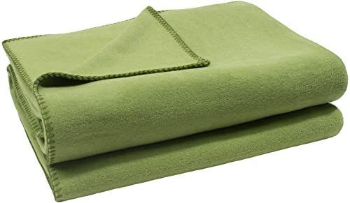 zoeppritz since 1828 miękki koc polarowy z haftem szydełkowym, miękki koc do przytulania  110 x 150 cm  650 zielony