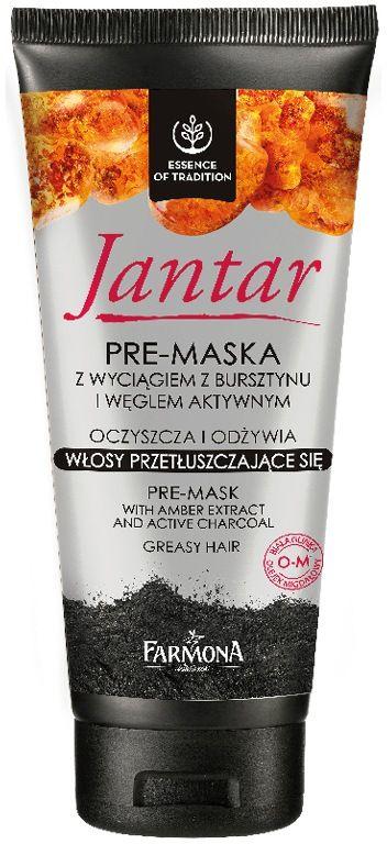 Jantar pre-maska z wyciągiem z bursztynu i węglem aktywnym do włosów przetłuszczających się 200g