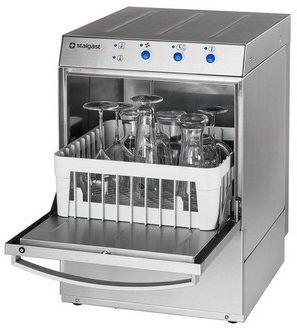 Zmywarka do szkła Stalgast 801350 wyparzarka dozownik płynu myjącego, kosz 350x350mm, U 230 V