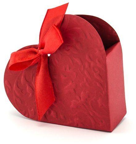 Pudełeczka dla gości czerwone serduszka z kokardką 10 sztuk PUDP11