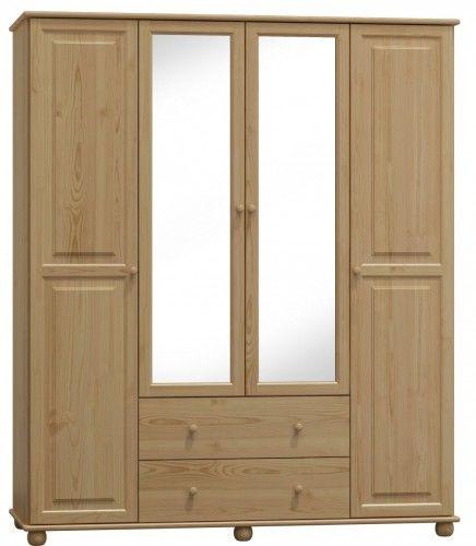 Szafa drewniana sosnowa czterodrzwiowa z lustrem 200cm (nr kat 75)