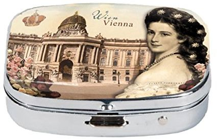 Fridolin Pojemniki na tabletki Wien-Sisi & Hofburg z metalu, kolorowe, 5,1 x 3,6 x 1,8 cm