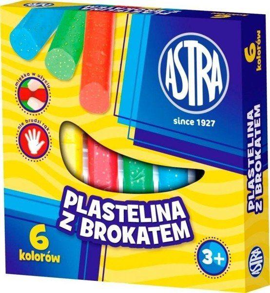 Plastelina z brokatem 6 kolorów ASTRA - ASTRA papiernicze