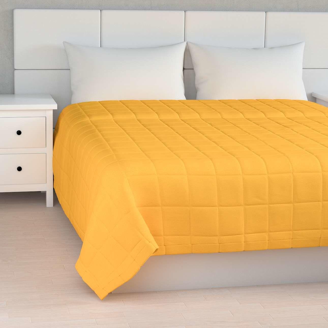 Narzuta pikowana w kratę, żółty, szer.170  dł.210 cm, Loneta