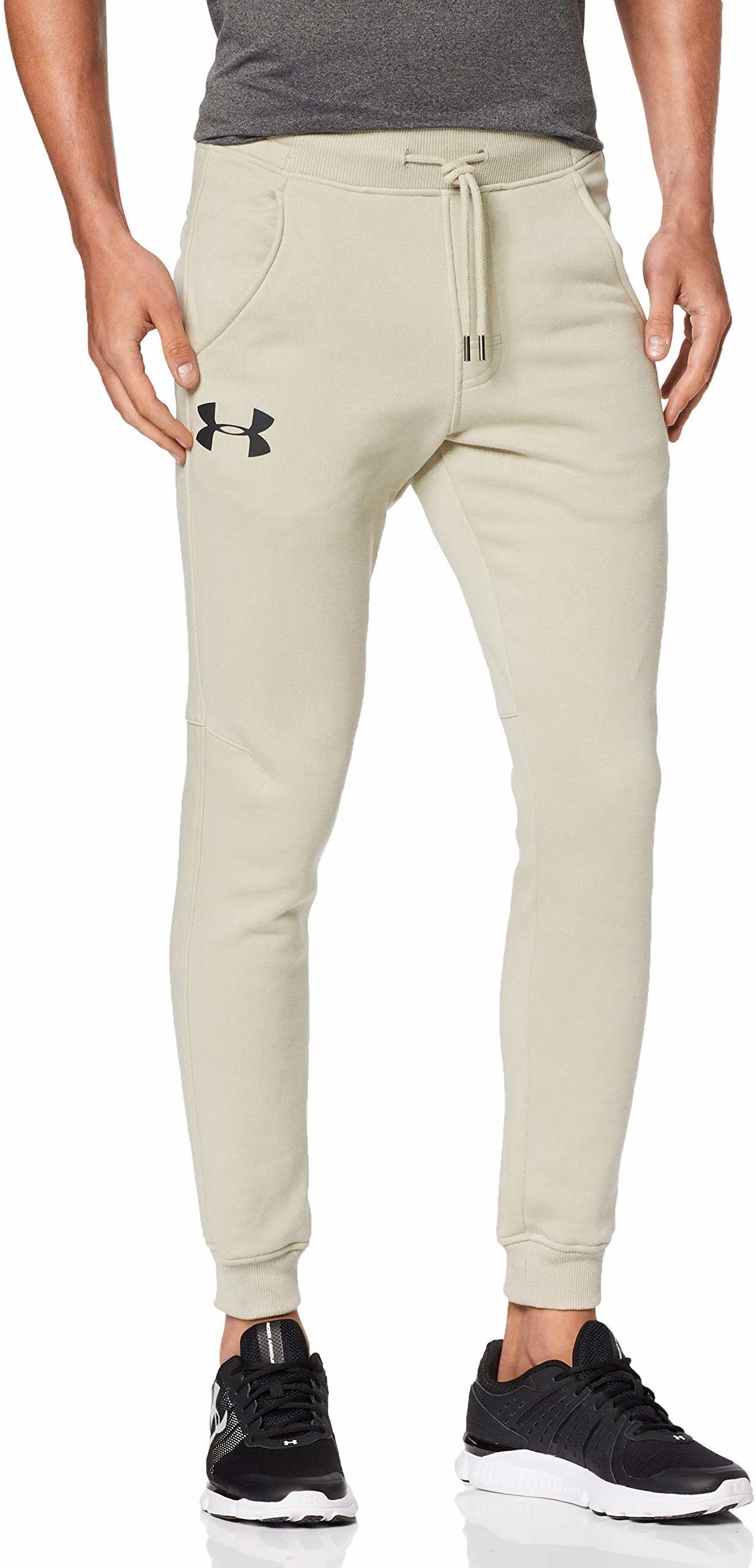 Under Armour Męskie spodnie do joggingu Rival dopasowane stożkowe męskie wąskie joggery wykonane z trwałego materiału, obcisłe spodnie treningowe łatwe do przenoszenia Khaki Base / / Black (289) XL