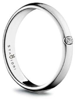 Staviori pierścionek. 1 diament, szlif brylantowy, masa 0,05 ct., barwa g, czystość si1. białe złoto 0,585. szerokość 2 mm