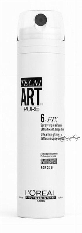 L Oréal Professionnel - TECNI.ART PURE - 6-FIX - Silnie utrwalający lakier do włosów - Force 6