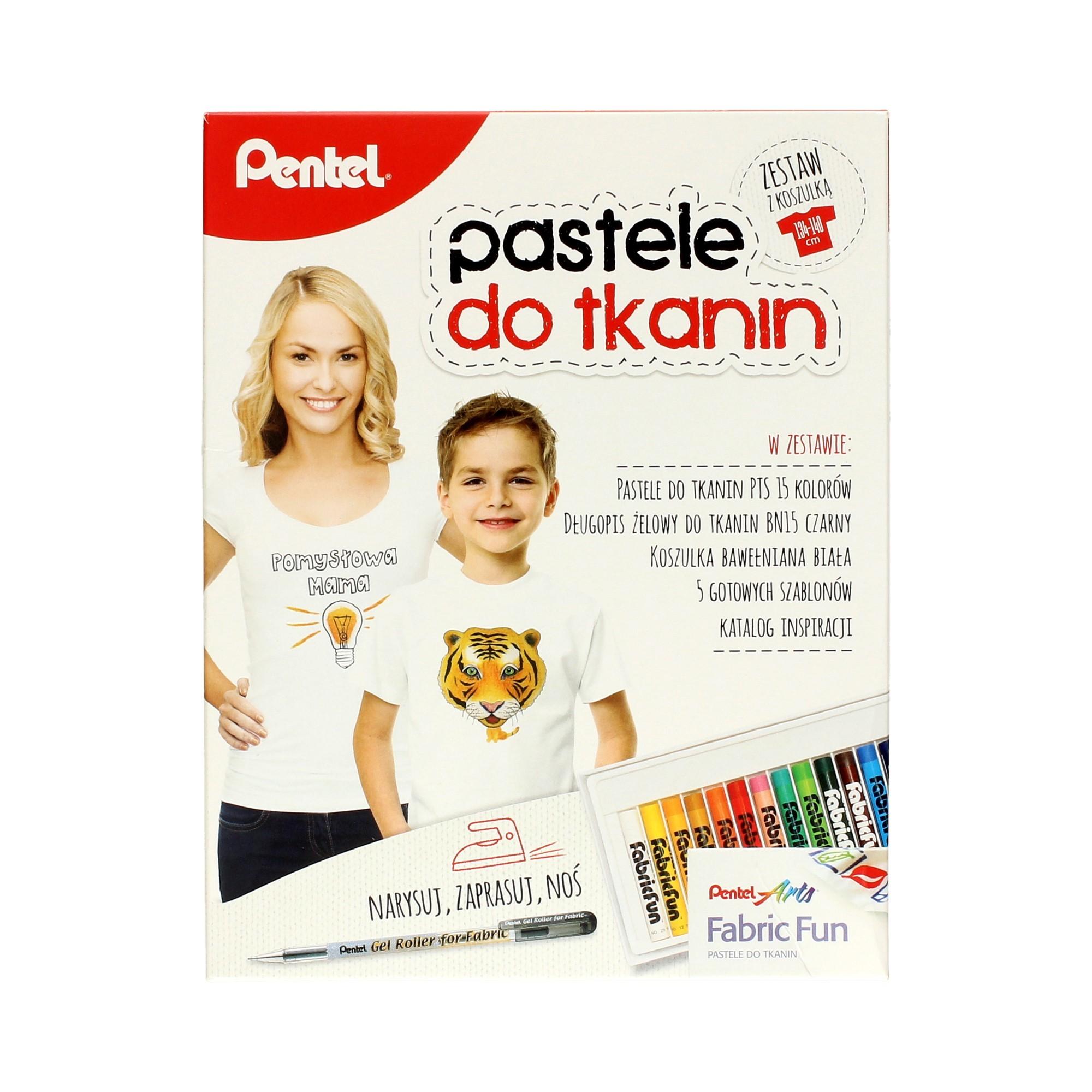 Zestaw pastele do tkanin + długopis + koszulka dziecięca