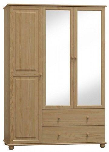 Szafa drewniana sosnowa trzydrzwiowa z lustrem 120cm (nr kat 77)
