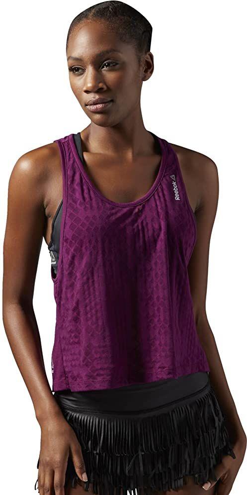 Reebok damska koszulka bez rękawów Studio Faves Placed Burnout Tank, Celestial Orchid, XL