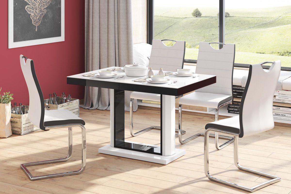 Stół QUADRO 120(168)x80 biały połysk/czarny połysk rozkładany  Kupuj w Sprawdzonych sklepach