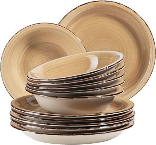 MÄSER, 931766, Bel Tempo II, zestaw talerzy dla 6 osób w nowoczesnym stylu vintage, 12-częściowy serwis stołowy, ręcznie malowany, kamionka, beżowy