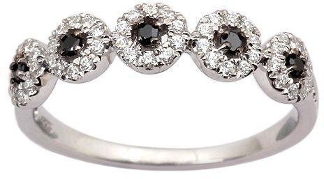 Staviori pierścionek. 50 diamentów, szlif brylantowy, masa 0,35 ct., barwa h, czystość i1. 5 diamentów, kolor czarny, szlif brylantowy, masa 0,06 ct.. białe złoto 0,585. szerokość 4 mm.