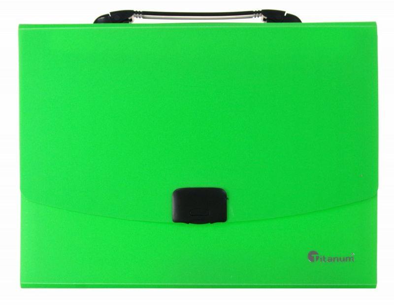 Teczka z rączką 12 przegródek A4 fluo Titanum 6504-TECZKA-PP-FLUO 6504-TECZKA-PP-FLUO, Kolor: Zielona