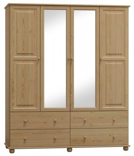 Szafa drewniana sosnowa czterodrzwiowa z lustrem 200cm (nr kat 78)