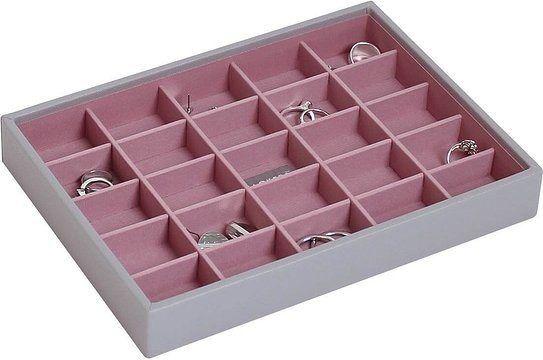 Szkatułka na biżuterię stackers 25 komorowa classic szaro-różowa