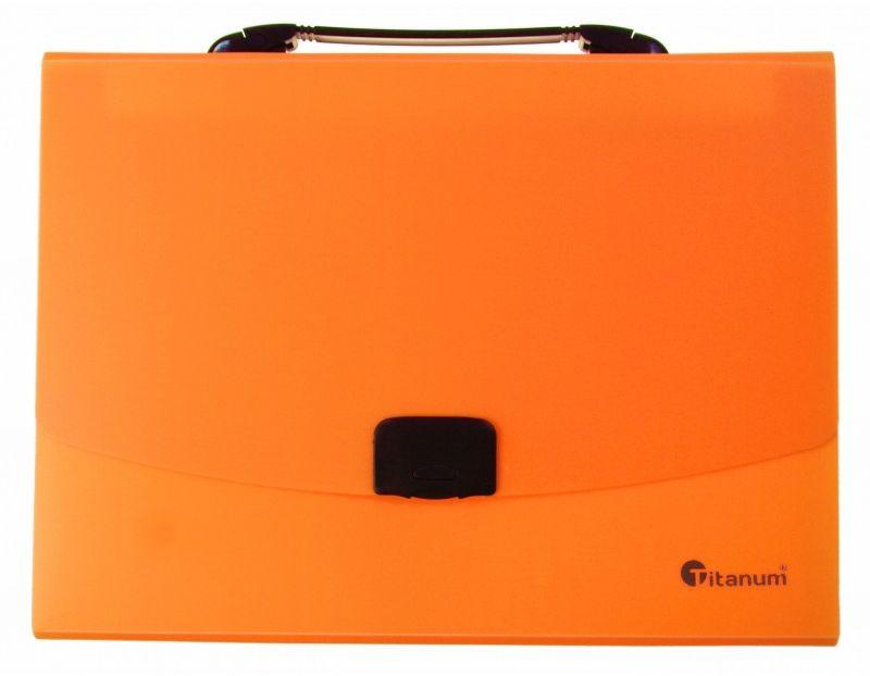 Teczka z rączką 12 przegródek A4 fluo Titanum 6504-TECZKA-PP-FLUO 6504-TECZKA-PP-FLUO, Kolor: Pomarańczowa