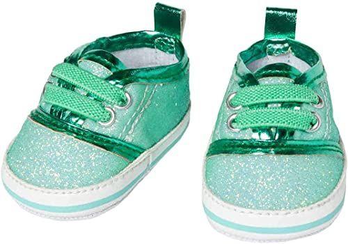 Heless 1491 błyszczące sneakersy dla lalek, kolor miętowy, rozmiar 30-34 cm, eleganckie buty z efektem wow na specjalne okazje, miętowy
