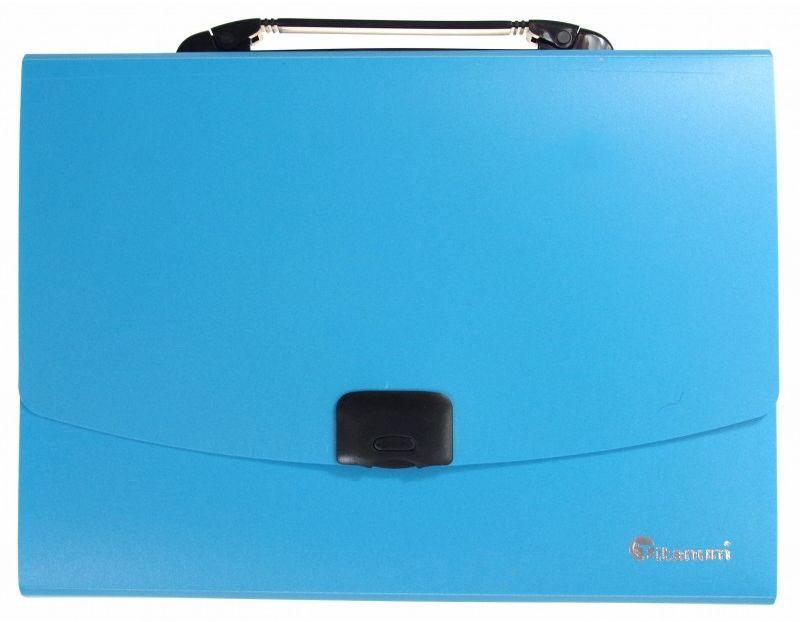 Teczka z rączką 12 przegródek A4 fluo Titanum 6504-TECZKA-PP-FLUO 6504-TECZKA-PP-FLUO, Kolor: Niebieska