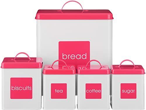 Premier Housewares Emaliowane pojemniki na zapasy 5-częściowy zestaw biały/Hot Pink
