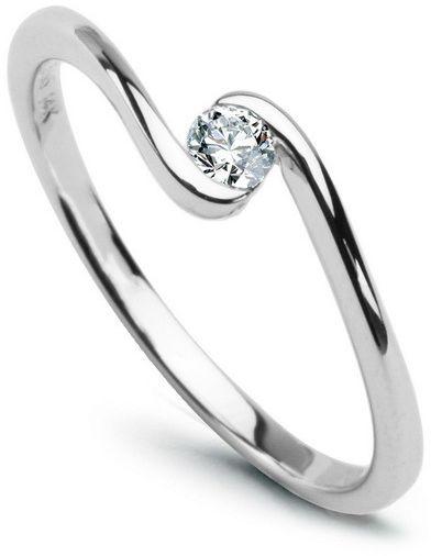 Staviori pierścionek. 1 diament, szlif brylantowy, masa 0,10 ct., barwa h, czystość si1. białe złoto 0,585. średnica korony ok. 4 mm. wysokość 2 mm.